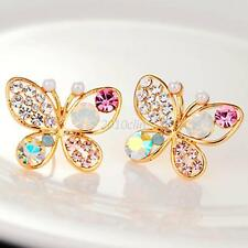 New Fashion Lady Hollow Butterfly Insect Colorful Crystal Pearl Stud Earring C38