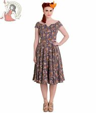 HELL BUNNY 50's style ANTONELLA floral DRESS summer GREY