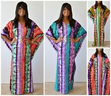 TAJ MAHAL MAXI KAFTAN DRESS or COVER UP BOHO CHIC SUMMER COLORS! S M L 1X 2X 3X