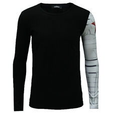 The Winter Soldier Tops Captain America Long Sleeve Men muscular Build T- Shirt