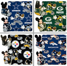 "Choose Your NFL Team Mickey Mouse Hugger Pillow & 40 x 50"" Fleece Throw Blanket"