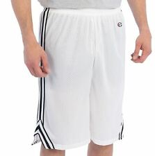 NEW MENS CHAMPION MESH LACROSSE BASKETBALL GYM ATHLETIC SHORTS WHITE $34.50