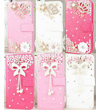 Luxury JGW 3D Diamond Rhinestone Bling Stand Leather Case Cover For HTC PHONE #2