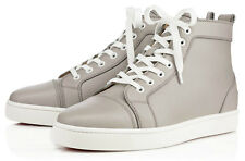 Auth Christian Louboutin Mens Louis Flat Grey Calf Leather Classic Sneakers