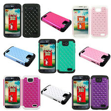 Heavy Duty Armor For LG Optimus L90 D415 Diamond Hybrid Hard + Soft Cover Case