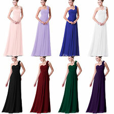US Stock Long Chiffon Wedding One Shoulder Bridesmaid Dress Prom Ball Gown dress