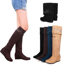 Cute Women's Over The Knee Foldable Shoes Wedge Mid-Heel Boots AU All Size L209