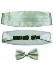 Silver men's deluxe formal bow tie cummerbund CHRISTMAS PARTY masquerade ball