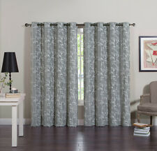 CALEB Faux Linen Embroidered Grommet Curtains (Set of 2 Panels)