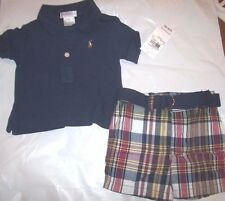 New Ralph Lauren Polo 2 piece shirt shorts set outfit khaki plaid navy 3 months