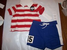New Ralph Lauren Polo 2pc shirt shorts set outfit khaki red 3 6 9 12 18 24 month
