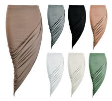 NEW WOMENS RUCHED ASYMMETRIC SIDE SPLIT MIDI TUBE BODYCON PENCIL SKIRT SIZE 6-12