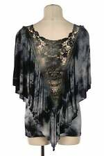 Crochet Lace Back Blouse Batwing Sleeve Two Layer Tie Dye Top Black White NEW
