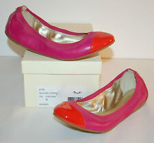 New $128 Coach Dalia Veg Leather/Patent Fusc/Carn Pink Red Ballet Flats Slip Ons