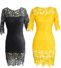 2015 Women Summer Sexy Short Sleeve Evening Party Cocktail Club Mini Lace Dress