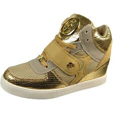 Baby Phat SASHA Womens Gold Athletic High Top Hidden Wedge Fashion Sneaker Shoes