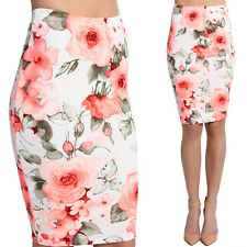 TheMogan Rose Textured Knit High Waisted Knee Length Pull On Pencil Midi Skirt