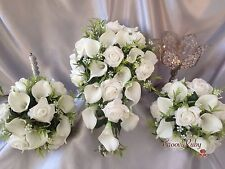 White Rose & White Calla Lily Bouquet, Bridesmaid Bouquet, Wedding Flowers