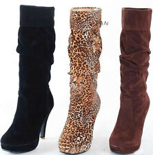 New Women's Fashion Wedge Mid-Calf Boots High Heel Platform Shoes AU All Sz L042
