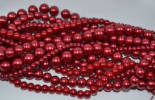 Dark Red Glass Pearl Round Beads - Choice of  4mm, 6mm, 8mm, 10mm