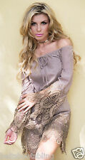 Union Of Angels Taupe Justine Cotton & Lace Cowgirl Dress Gorgeous & Sexy