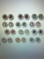 Avon Antiqued Floral Birthstone Color Pierced Earrings NIB Pretty BOGO 50% off