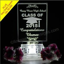 Graduation Cap and Scroll Lighted Cake Top + Key Chain Favors Acrylic Topper