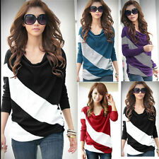 New Ladies Striped Long Sleeve Batwing Dolman Casual Top Blouses T-Shirt SZ 8-16