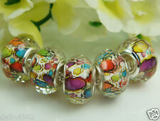 Silver lampwork Pattern DIY Charm bead fit Jewelry making Bracelet Wholesale a17