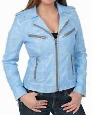 Womens casual short fitted cut biker real leather Jacket Washed Denim Blue KIM