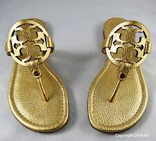 Tory Burch Miller Gold Metallic Leather Thong Sandal 5 to 11