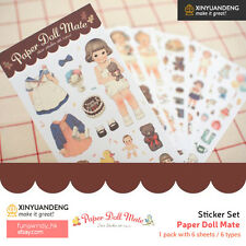 Paper Doll Mate Diary Planner Scrapbooking Decoration Stickers 6 Sheets (2 Type)