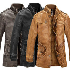 PU Leather  Retro Mens Cowboy Trench Coat Motor Jacket Bomber Military Overcoat