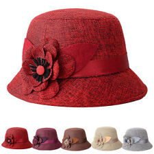 Summer Hats Women Flax Flower Caps Bowler Billycock Cap Straw Braid Hats
