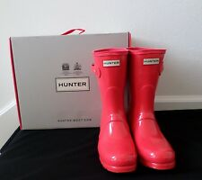 New Hunter Women's Original Gloss Short Rain Boots Bright Coral Size 5 7