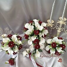 Burgundy Rose & White Calla Lily Bouquet, Bridesmaid Bouquet, Wedding Flowers
