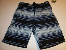 New Volcom youth boys board shorts swim trunks 2 way stretch 18 blue stripe