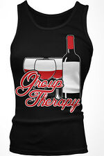 Group Therapy - Wine Vino Drinking Friends Funny Boy Beater Tank Top