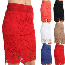 TheMogan Floral Embroidered Lace Pull On Knee Length Pencil Midi Skirt