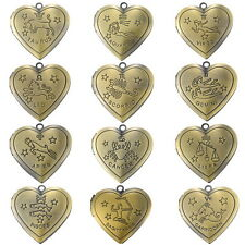 1PC Bronze Tone Pendants Photo Setting Openable Constellations Heart DIY Finding
