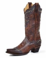 Corral Women's Distressed Brown Studded Fleur De Lis Boots R1216