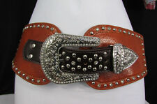 New Women Belt Brown Bull Head Leather Elastic Wide Western Fashion Big Buckle