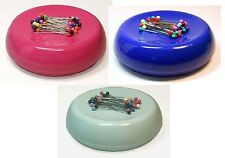 GRABBIT MAGNETIC SEWING QUILTING PIN CUSHION HOLDER 50 PINS Blue Raspberry Pink