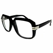 Clear Lens Retro Gazelle Run Dmc Style HIP HOP Black Sun Glasses w Metal Accents