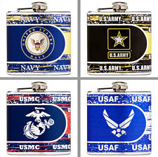 Choose Military Branch 6 oz. Stainless Steel Hi-Def Metallic Graphics Hip Flask