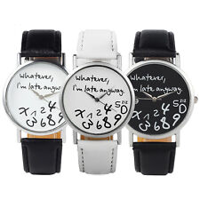New Fashion Funny Whatever I'm Late Anyway Watches Women's Men's Wrist Watches
