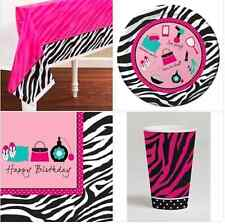 PINK ZEBRA PRINT BIRTHDAY PARTY GIRLS PINK BLACK 8 16 PEOPLE TABLE SET PRETTY