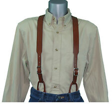 Brown Plain Leather Suspenders with Button Connectors