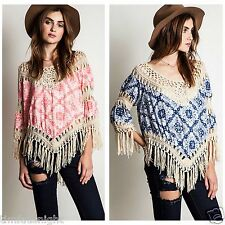 Umgee USA Crochet Fringe Frayed Bohemian Hippie Tunic Top S M L BEIGE BLUSH MINT