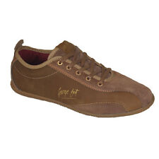 George Best Mens Trainers, Mens Leather Low Shoes Tan Brown - GENUINE